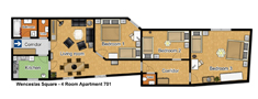 Prague Apartment Wenceslas Square - 701 pok 4 Floor plan