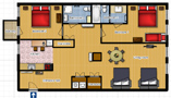 Your Apartments - Riverview Apartment 2B Floor plan